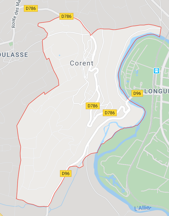Carte GoogleMaps de la commune de Corent (63730)